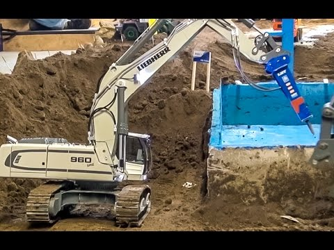 RC excavator EXTREME Part1! Pool demolition by R/C Liebherr 960!