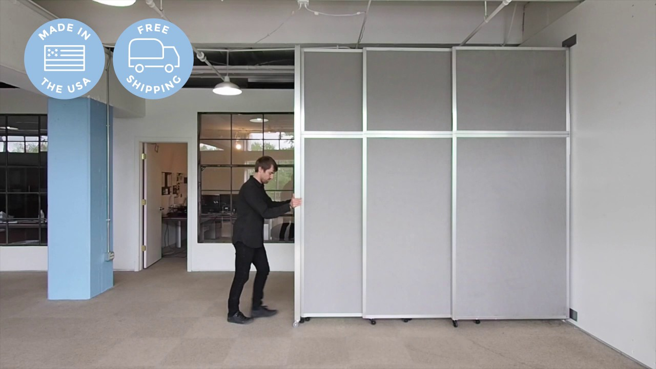 Versare operable wall sliding room divider youtube for Movable walls room partitions