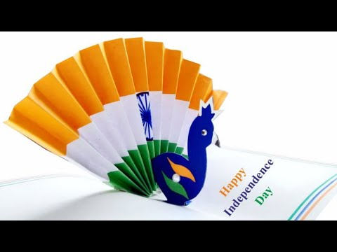 Greeting card idea for Independence Day/DIY- How to make Peacock Pop up card/Easy Tricolor card