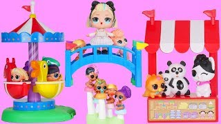 LOL Surprise Park Dolls Sleepover Routine with Unicorn Family Dream House