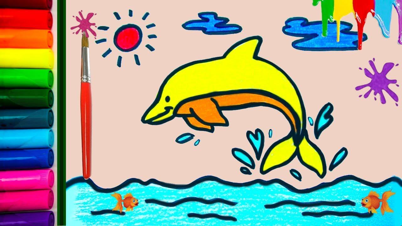 Hoe Teken Je Een Dolfijn Video Educatief Kleurplaten Voor Kinderen Tekenen En Kleuren Leren