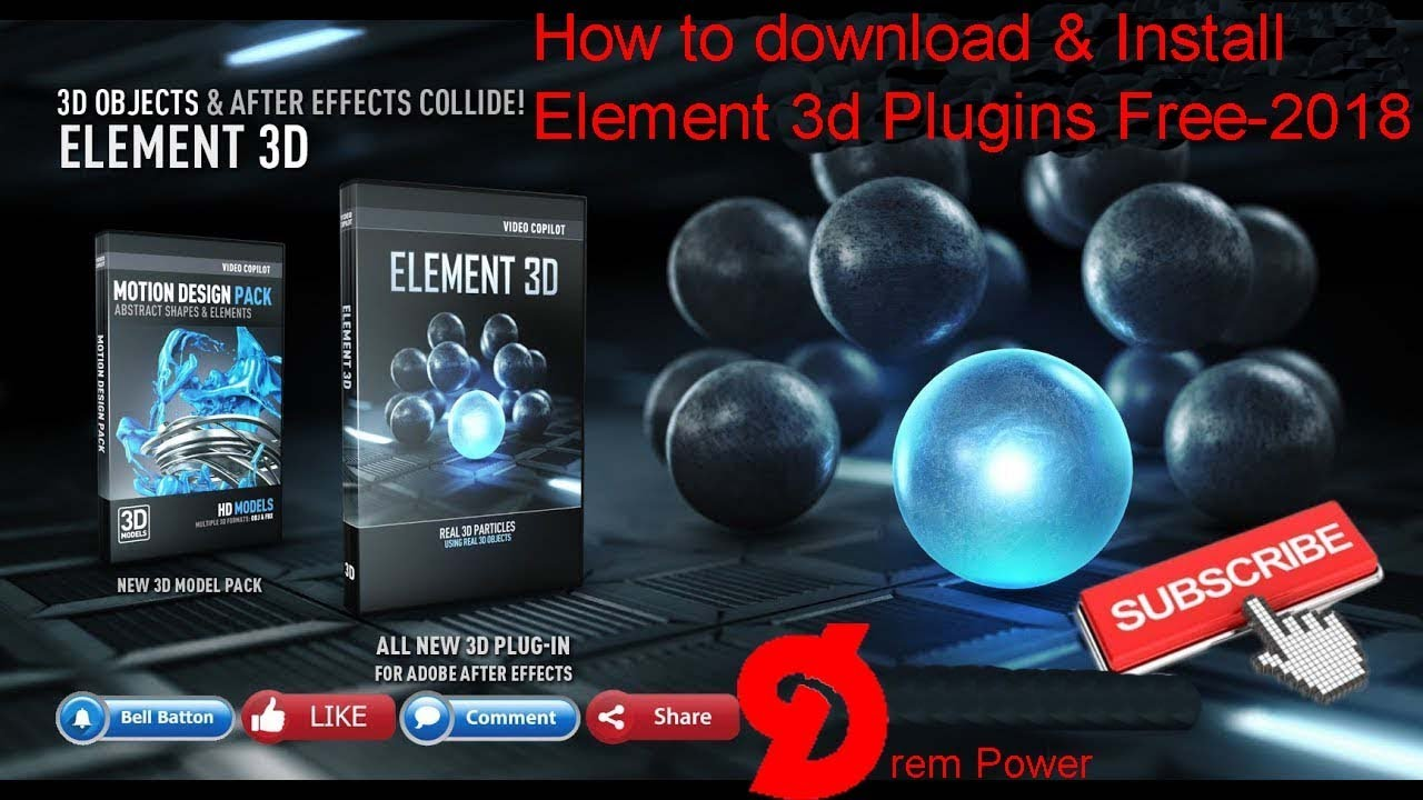 How to download & install Element 3d plug-ins Free-2018 &%#