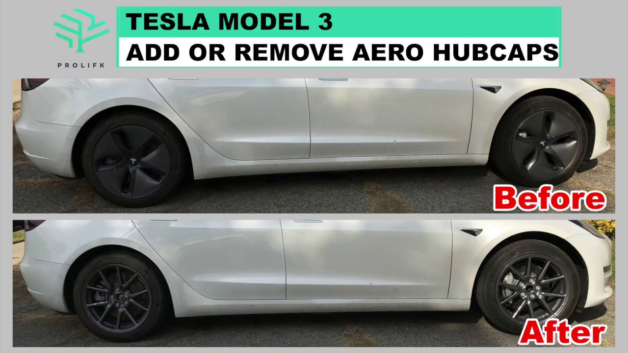 Tesla Model 3 - Remove or Add Aero Hubcaps - YouTube