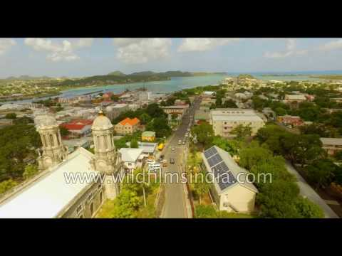 Flying over the St John's Cathedral Church in Antigua