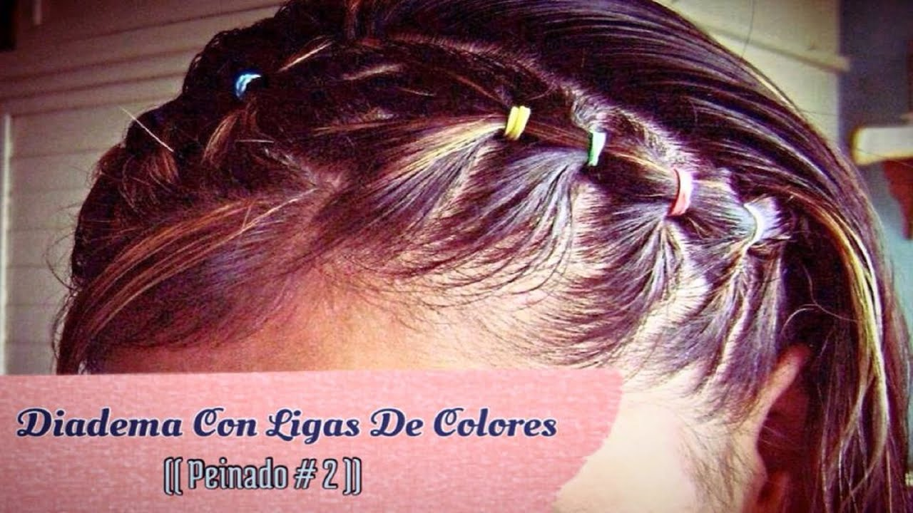 Diadema Con Ligas De Colores Peinado 2 Youtube