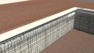 Proceso de construcción de piscina, reproducción 3D