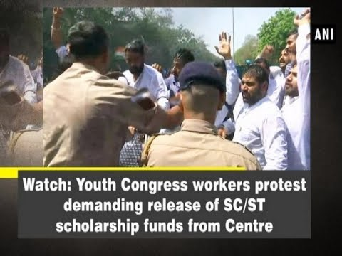 Watch: Youth Congress workers protest demanding release of SC/ST scholarship funds from Centre