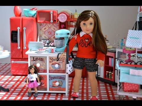 Setting Up American Girl Doll Grace's Kitchen With Doll Food Collection!