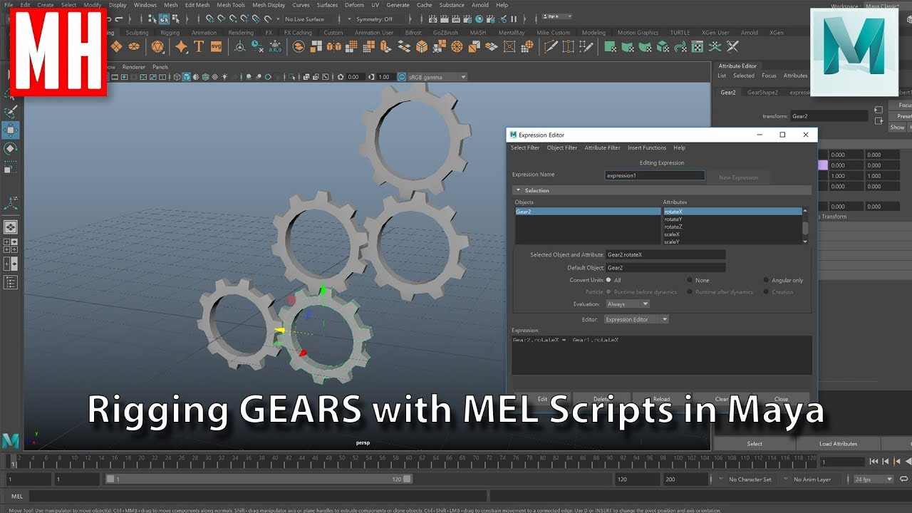 Rigging GEARS in Maya using MEL Scripts ( No Plugin needed )