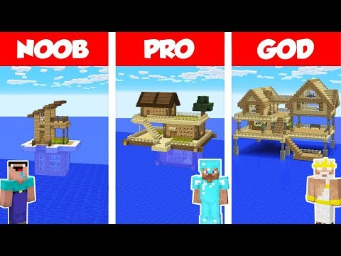 Minecraft NOOB vs PRO vs GOD: SURVIVAL HOUSE ON WATER CHALLENGE in Minecraft /Animation
