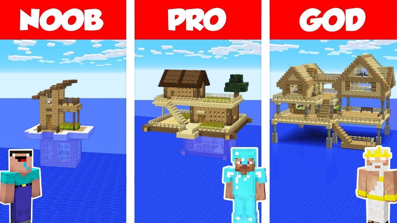 Minecraft NOOB vs PRO vs GOD: SURVIVAL HOUSE ON WATER CHALLENGE in Minecraft /Animation