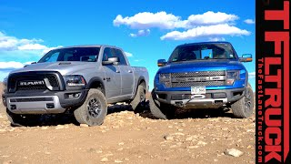 2015 Ram 1500 Rebel vs Ford F-150 Raptor Off-Road Rocky Mountain Matchup Review