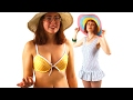Women Try On Historic Swimwear