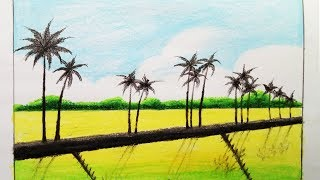 How to draw Scenery of Field.Step by step(easy draw)