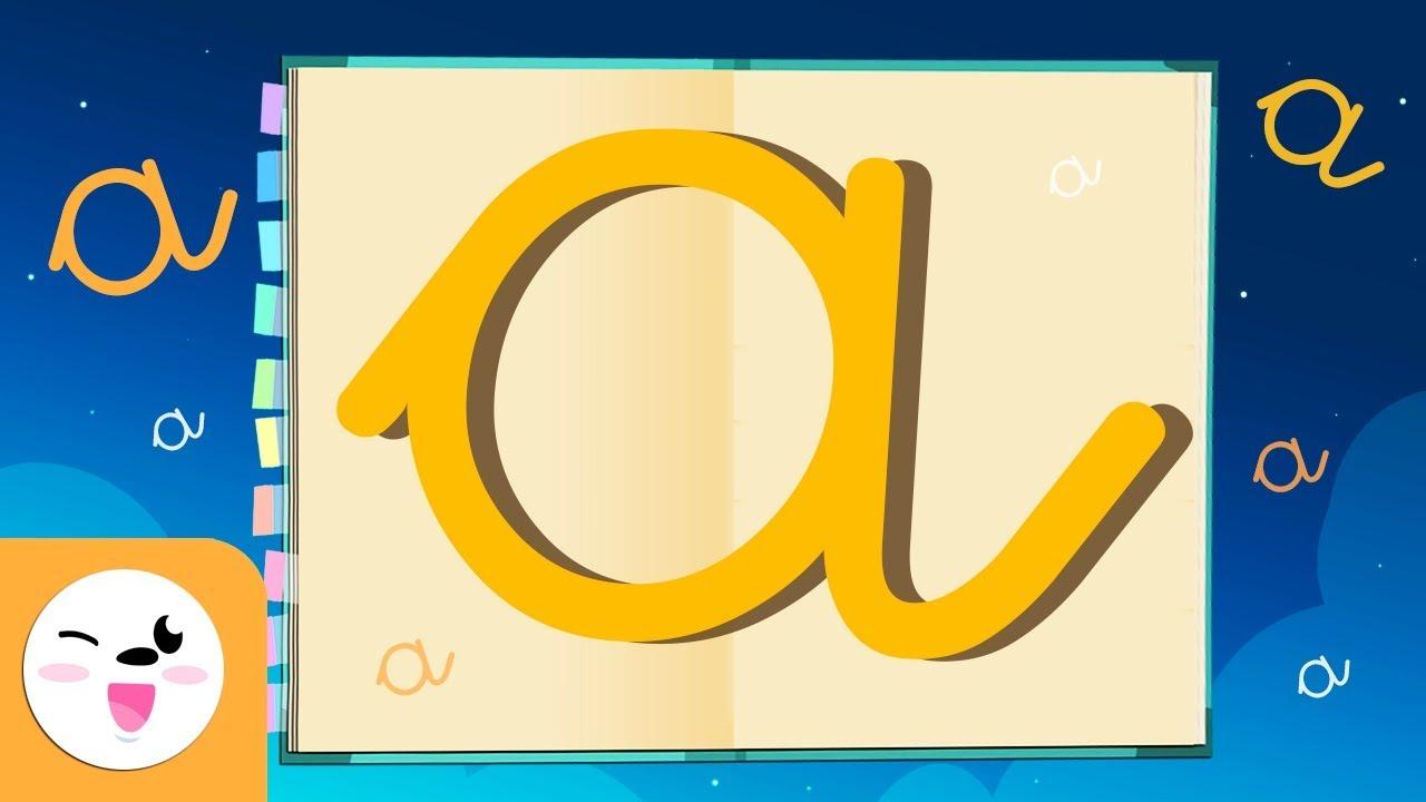Letra A con caligrafía enlazada - El abecedario para niños - Las ...