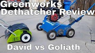 Greenworks 14-Inch Dethatcher Review .  Greenworks Dethatcher vs Bluebird Power rake