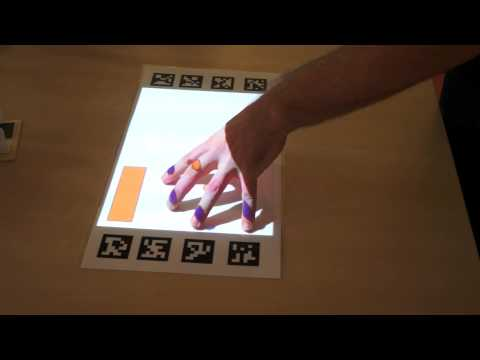 Augmented reality with touch and tracking, interactive projection.