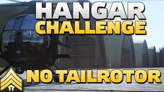 "Helicopter ""Hangar challenge"", no tail rotor, first person POV, first attempt."