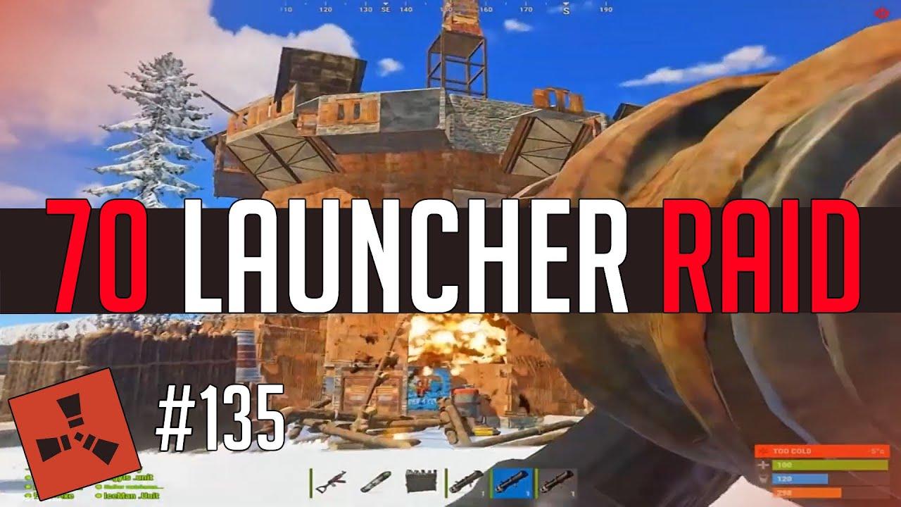 70 Launcher Rocket Raid! (Rust Highlights #135)
