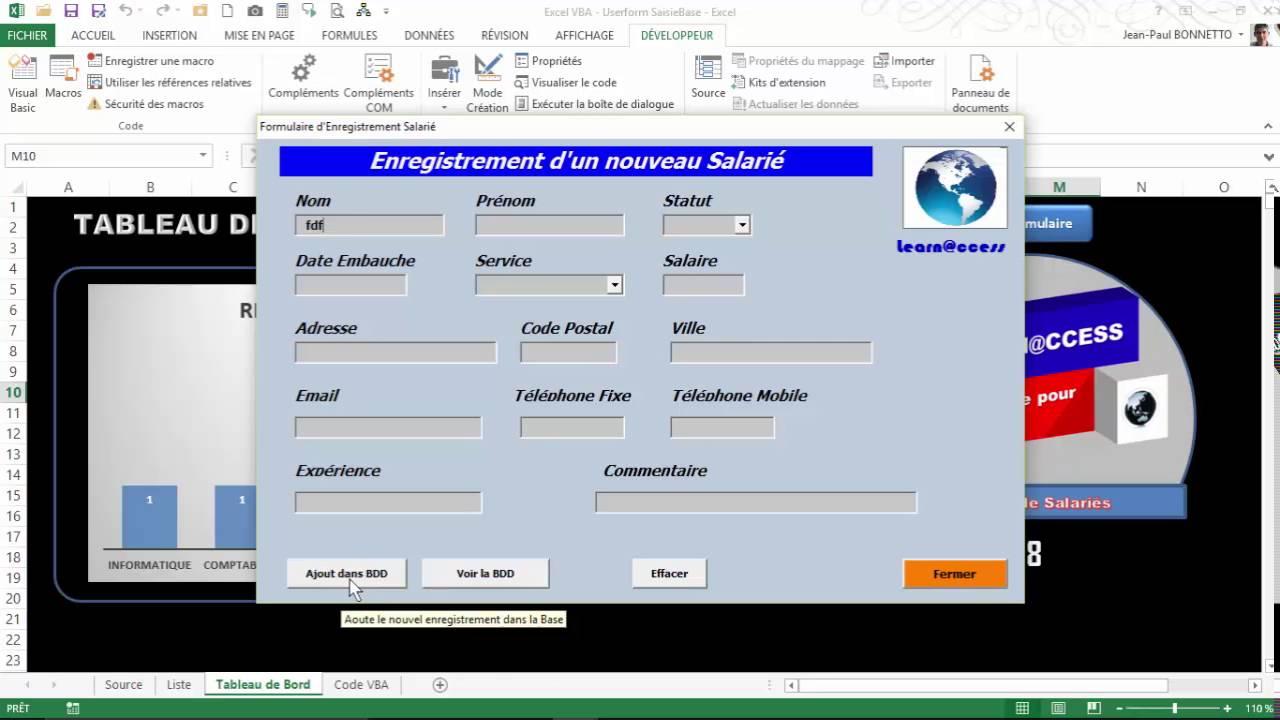 Excel VBA - Tableau de Bord Formulaire de Saisie - YouTube
