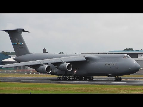 TRUMP UK VISIT: 2 US Air Force C-5M Super Galaxy's AWESOME Landings & Takeoffs (Prestwick Airport)