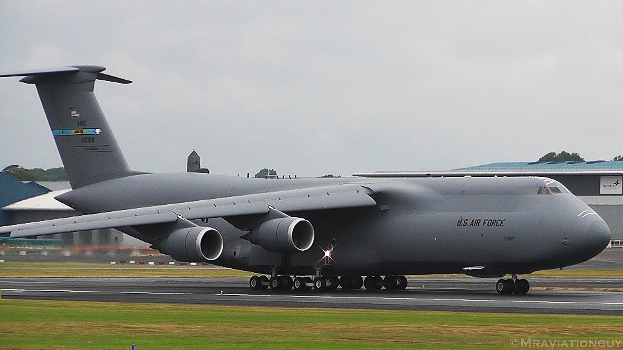 TRUMP UK VISIT: 2 US Air Force C-5M Super Galaxy's AWESOME Landings & Takeoffs (Prestwick A
