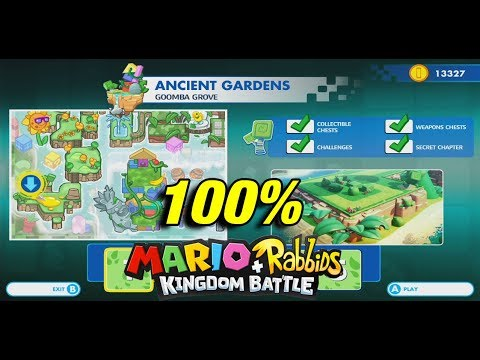All Chests / Collectibles at Ancient Gardens (World 1)| Mario + Rabbids Kingdom Battle