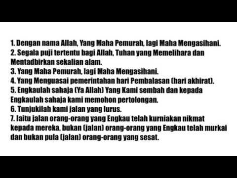 Bacaan Terjemahan Maksud Surah Al Fatihah Dalam Bahasa Malaysia Dengan Audio Suara Youtube