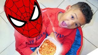 SPIDERMAN ATE THE  SPAGHETTI !!!!!!!