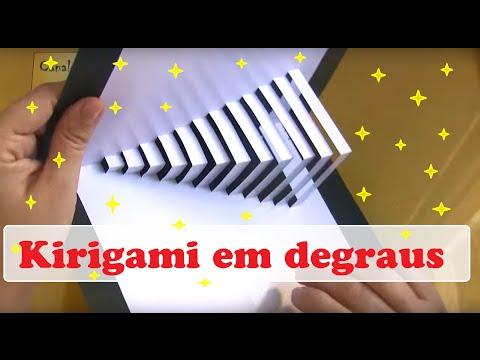 COMO FAZER CARTÃO KIRIGAMI EM DEGRAUS