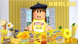 Only Eating YELLOW Foods for 24 HOURS! - ROBLOX Bloxburg