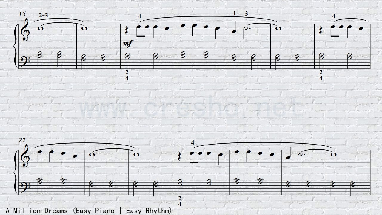 A Million Dreams   Easy Piano Cover   Easy Rhythm   C major   Grade 1-2  Piano   Sheet Music