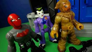 Imaginext Red Hood and Joker Raid Gotham Jail, Attack Gordon and Batman Toy Video