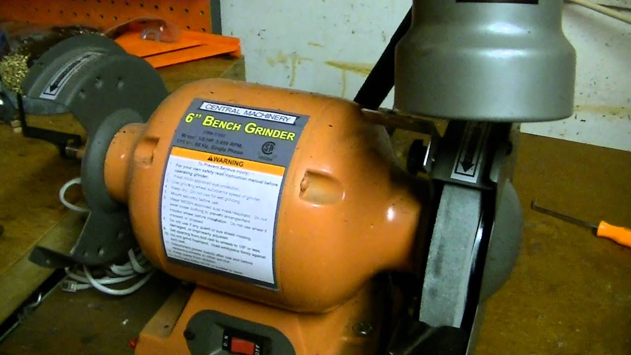Central Machinery 6 Inch Bench Grinder W/Light   YouTube