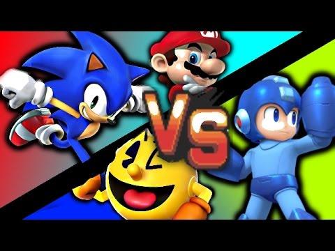 Mario Vs Sonic Vs Megaman Vs Pacman FRIENDS VS MAN!...