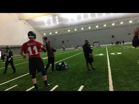Philadelphia Eagles' Carson Wentz throws passes in practice bubble