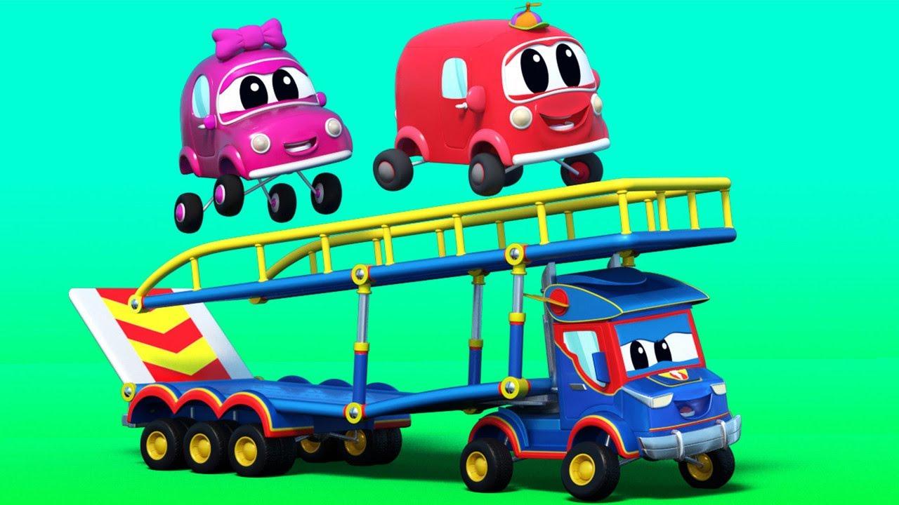 Phim hoạt hình về xe tải dành cho thiếu nhi -  Siêu xe tải chở hàng và các phương tiện nhào lộn