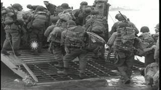 American soldiers embark on a LCVP at Adak in Aleutian Island, Alaska HD Stock Footage