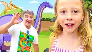 Nastya e papai estão explorando o parque Jurassic no Havaí