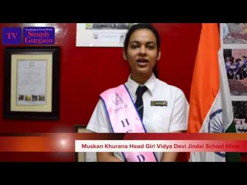 Muskan Khurana Head Girl Vidya Devi Jindal School Hisar
