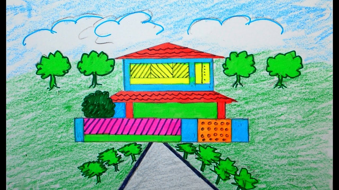 how to draw scenery scenery of house draw for beginners draw