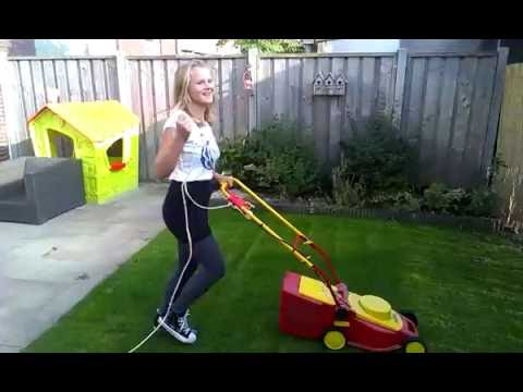 Sweet Girl Is Mowing The Lawn Suddenly Her Phone Falls