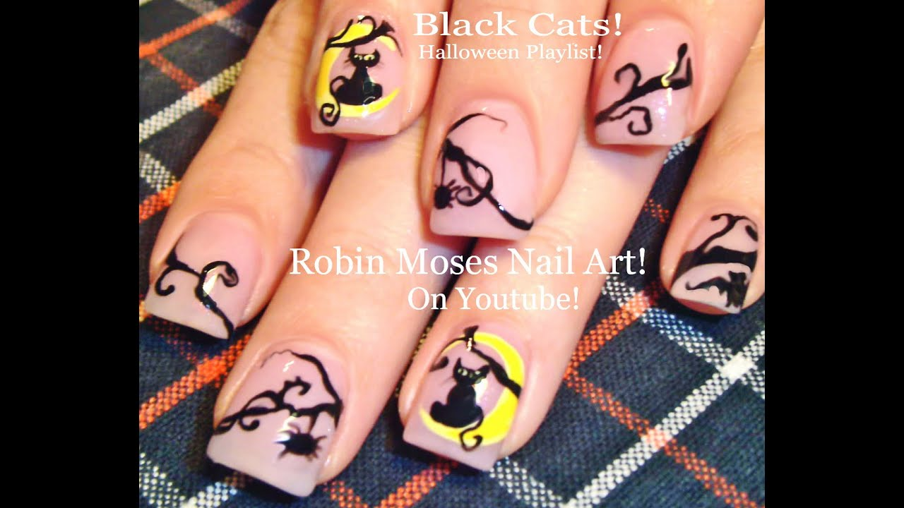 Halloween black cat nail art design tutorial youtube prinsesfo Images