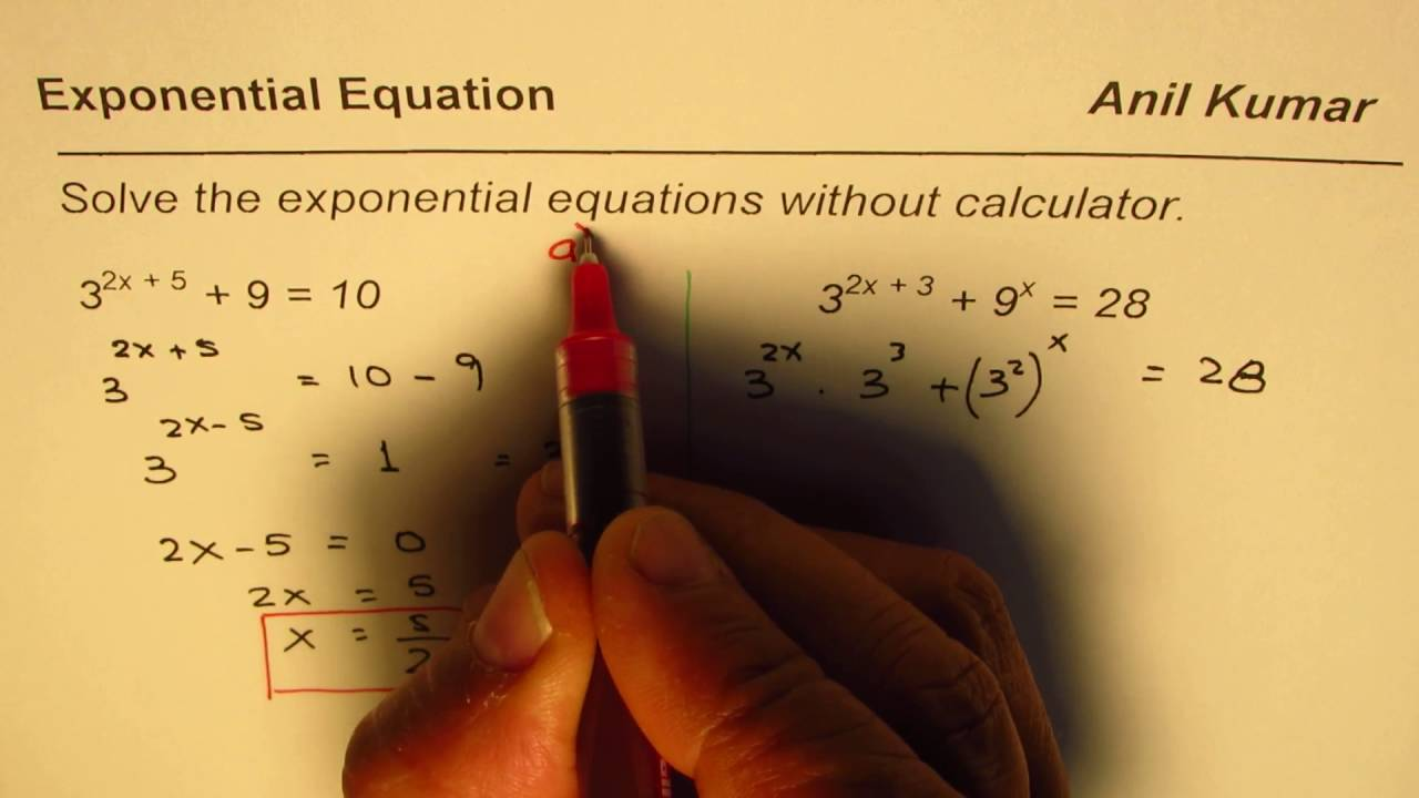 worksheet Exponential Equations Without Logarithms Worksheet how to solve exponential equations without calculator ib math sl sl