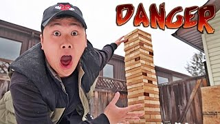 WORLD'S BIGGEST JENGA TOWER!! *CRAZY COLLAPSE*