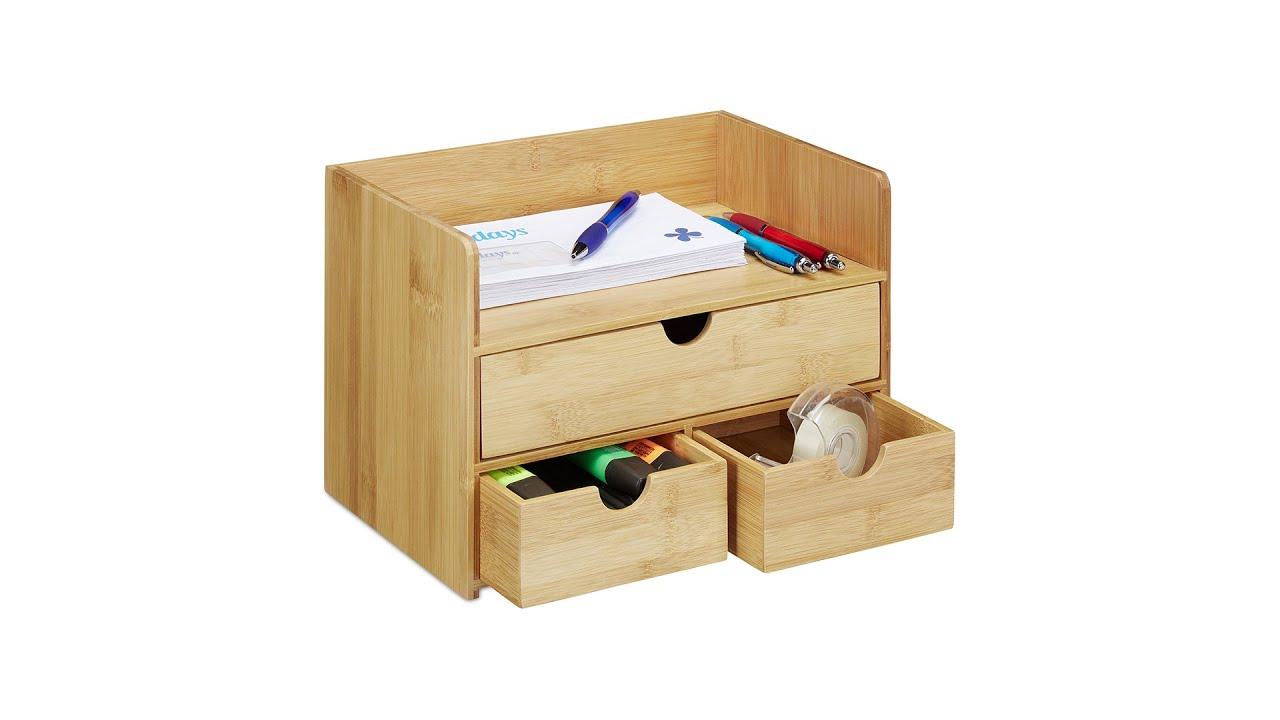 Schreibtisch-Organizer Bambus als Aufbewahrungsbox Briefablage mit Schubladen