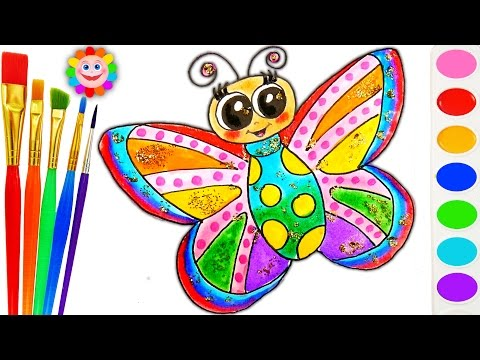 Thumbnail: How to Draw Rainbow Butterfly Drawing Coloring Page for Children to Learn How to Paint