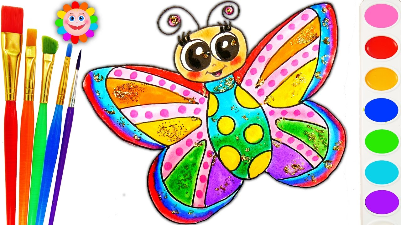 How to Draw Rainbow Butterfly Drawing Coloring Page for ...