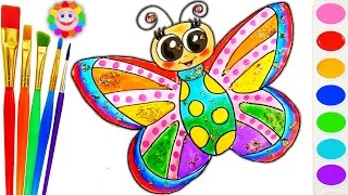 How to Draw Rainbow Butterfly Drawing Coloring Page for Children to Learn How to Paint