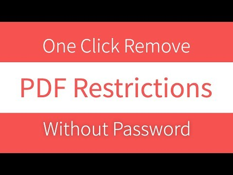 How To Remove Pdf Restrictions Without Password ?